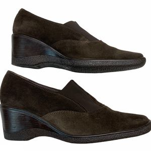 Aquatalia Brown Wedge Slide On Loafers Shoes 9.5